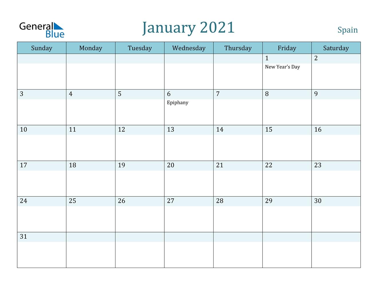 January 2021 Calendar - Spain