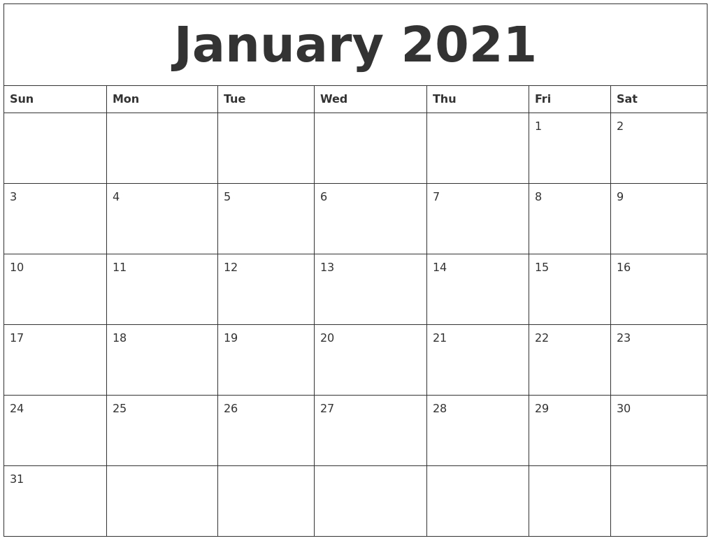 January 2021 Free Printable Monthly Calendar
