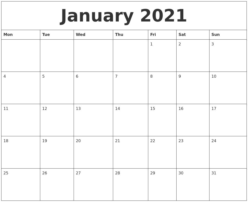 January 2021 Free Printable Weekly Calendar