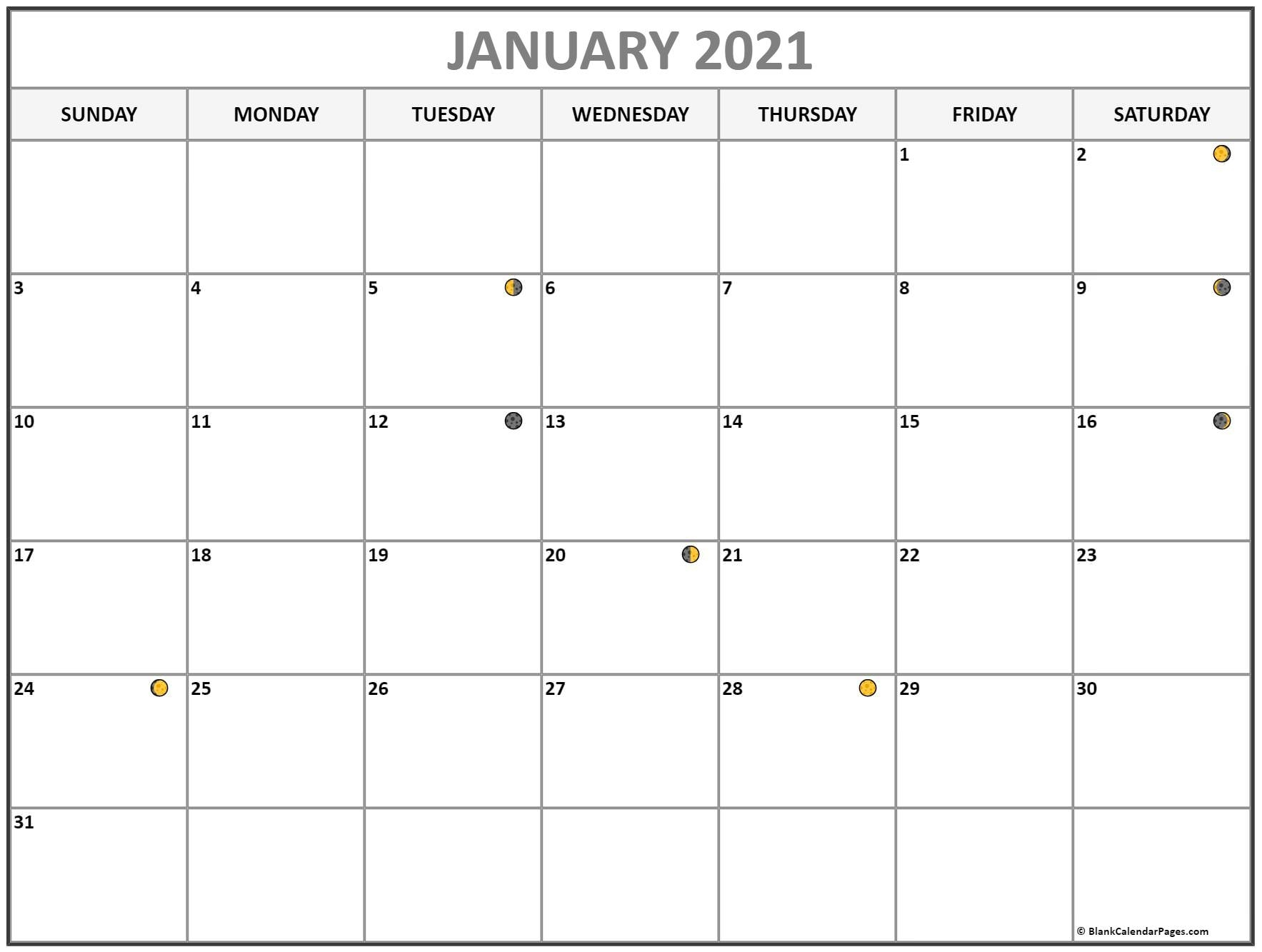 January 2021 Lunar Calendar | Moon Phase Calendar