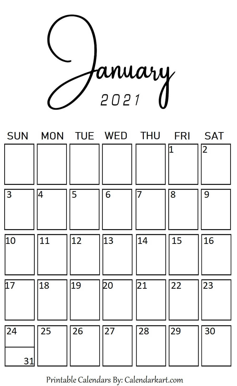 January 2021 Portrait (Vertical) Style Calendar In 2020