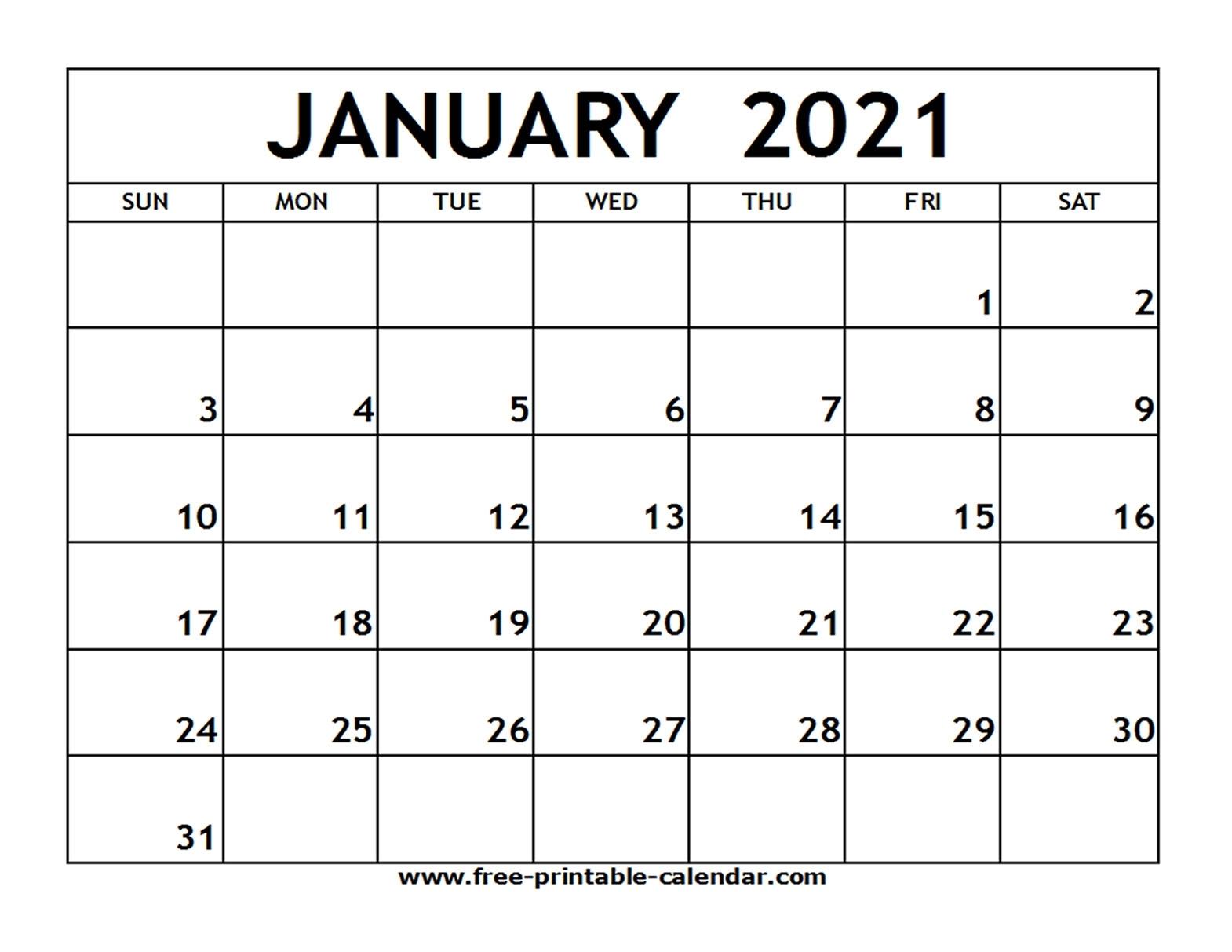 January 2021 Printable Calendar - Free-Printable-Calendar