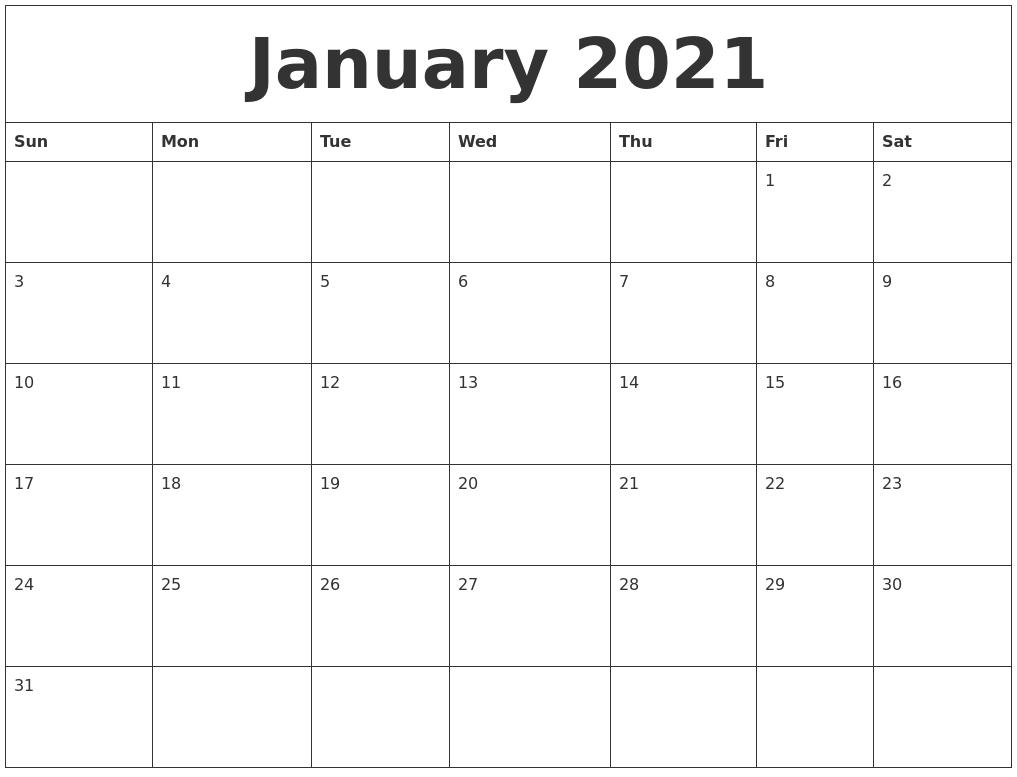 January 2021 Printable Calendar Free