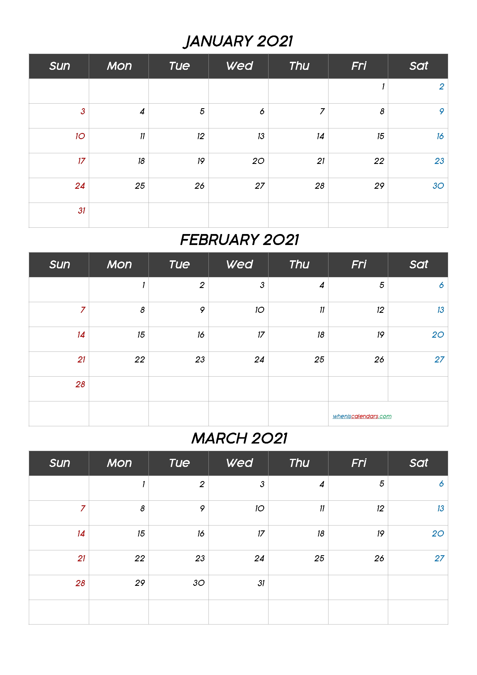 January February March 2021 Calendar Printable-Template Code