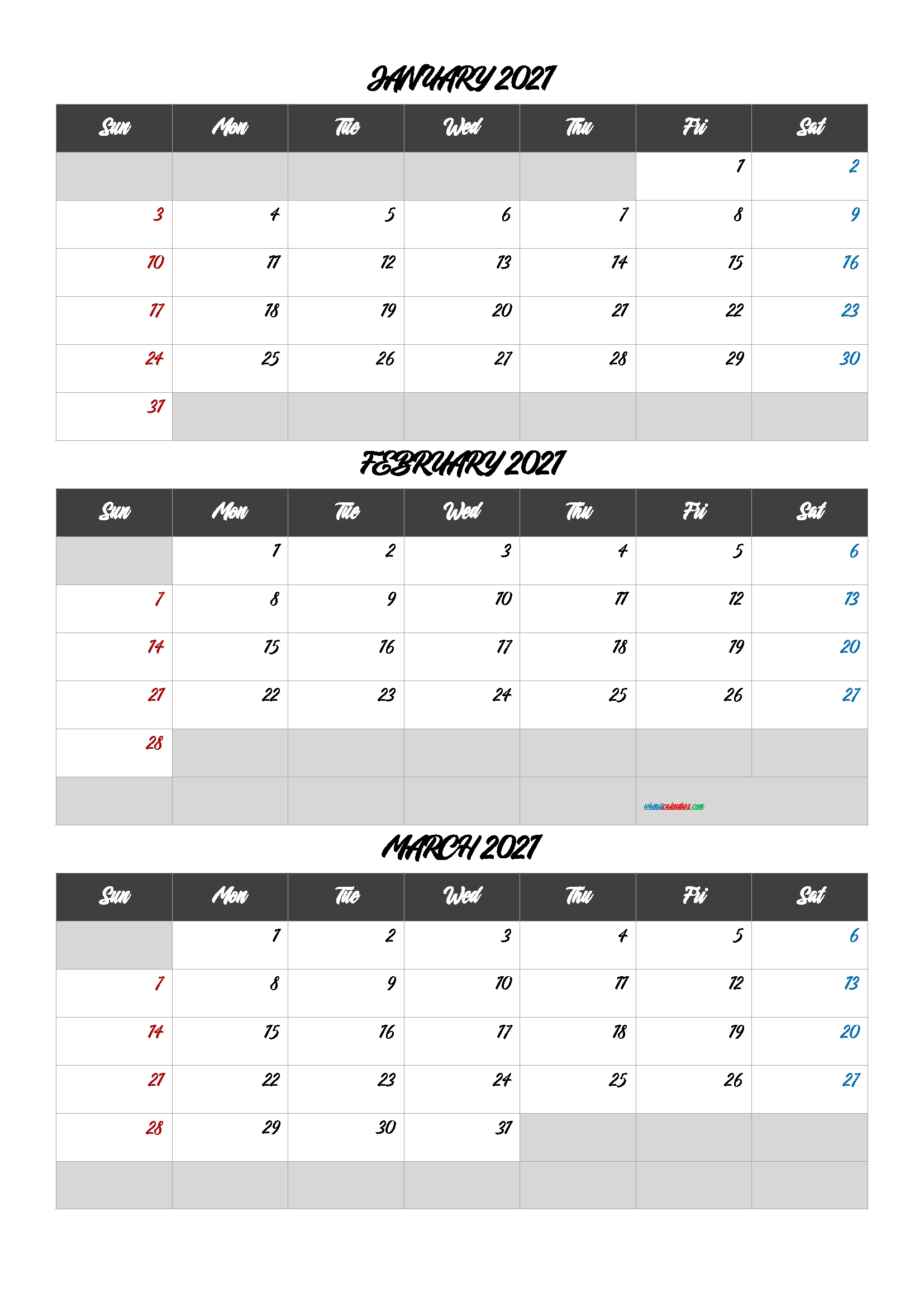 January February March 2021 Printable Calendar [Q1-Q2-Q3-Q4