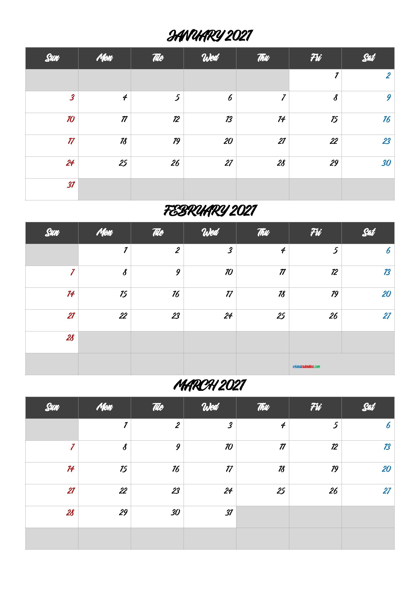 January February March 2021 Printable Calendar [Q1-Q2-Q3-Q4