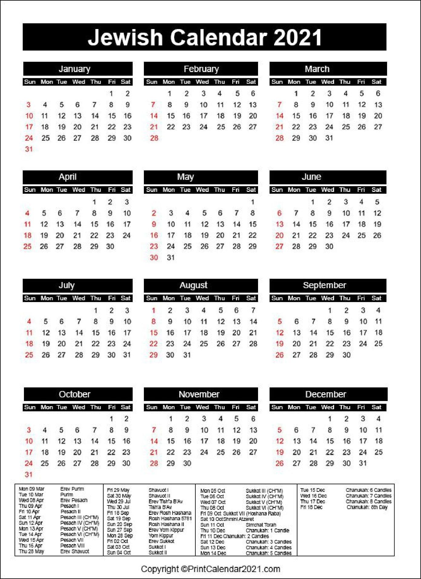 Jewish Holidays Calendar 2021 [Hebrew Calendar 5781]