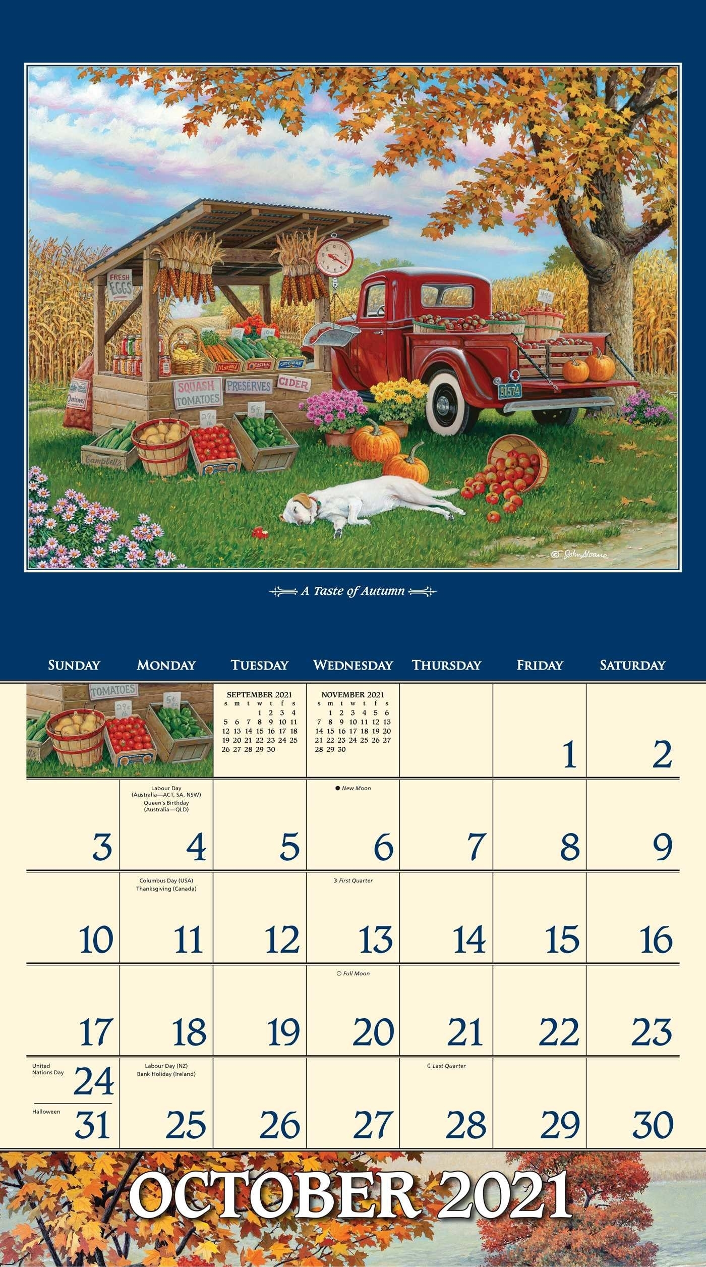 John Sloane'S Country Seasons 2021 Deluxe Wall Calendar
