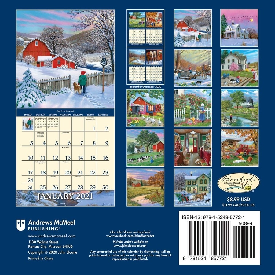 John Sloane'S Country Seasons 2021 Mini Wall Calendar - Book