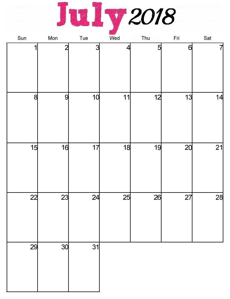 July 2018 Calendar Pdf, Word, Excel Vertical, And Landscape