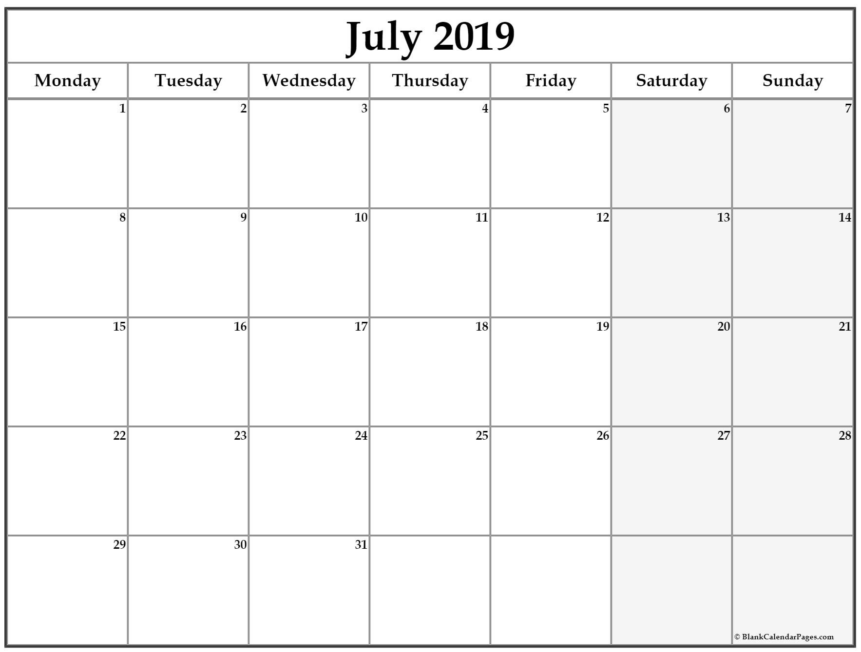 July 2019 Monday Calendar. Monday To Sunday | Monthly