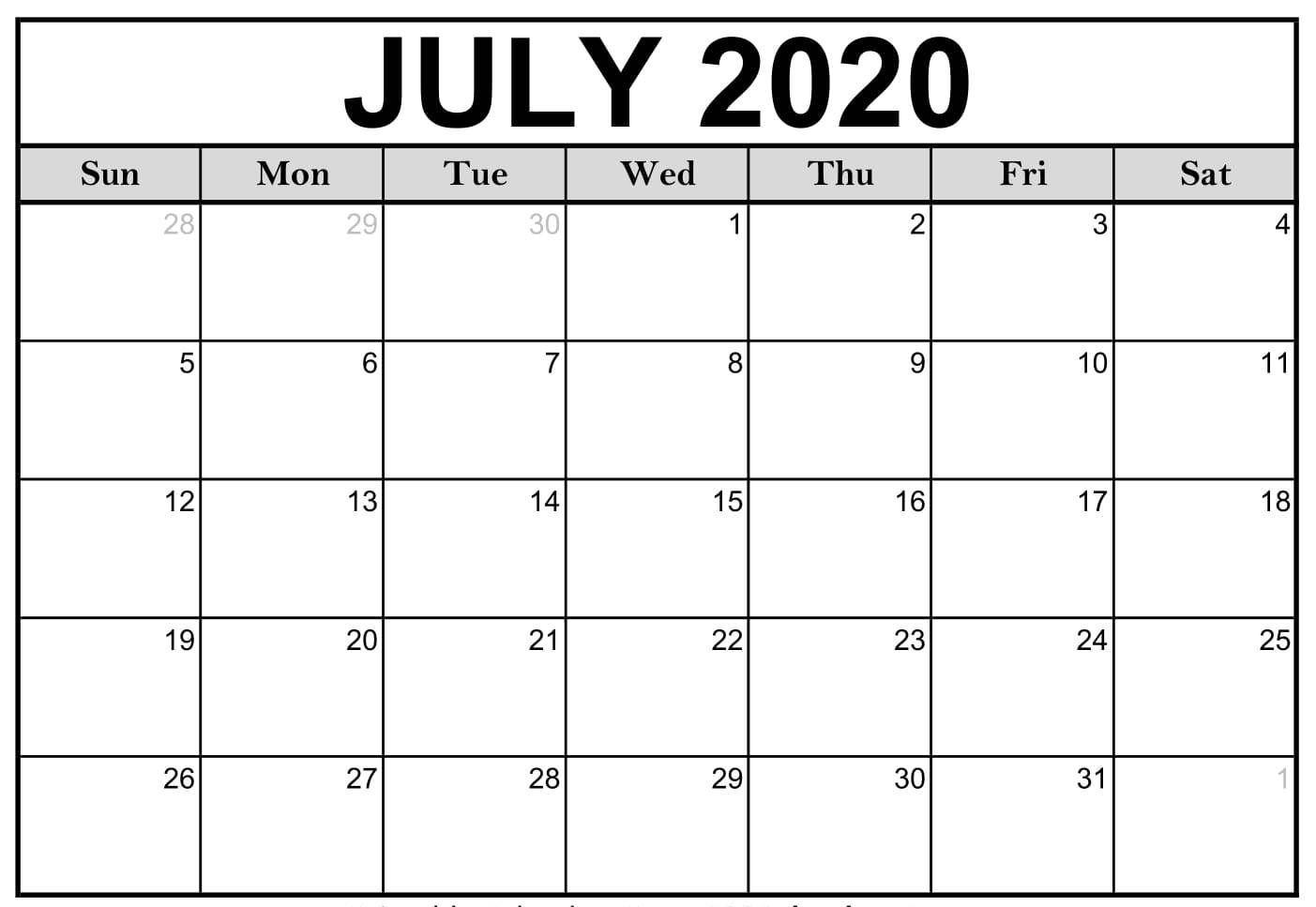 July 2020 Printable Calendar, #Calendar #July