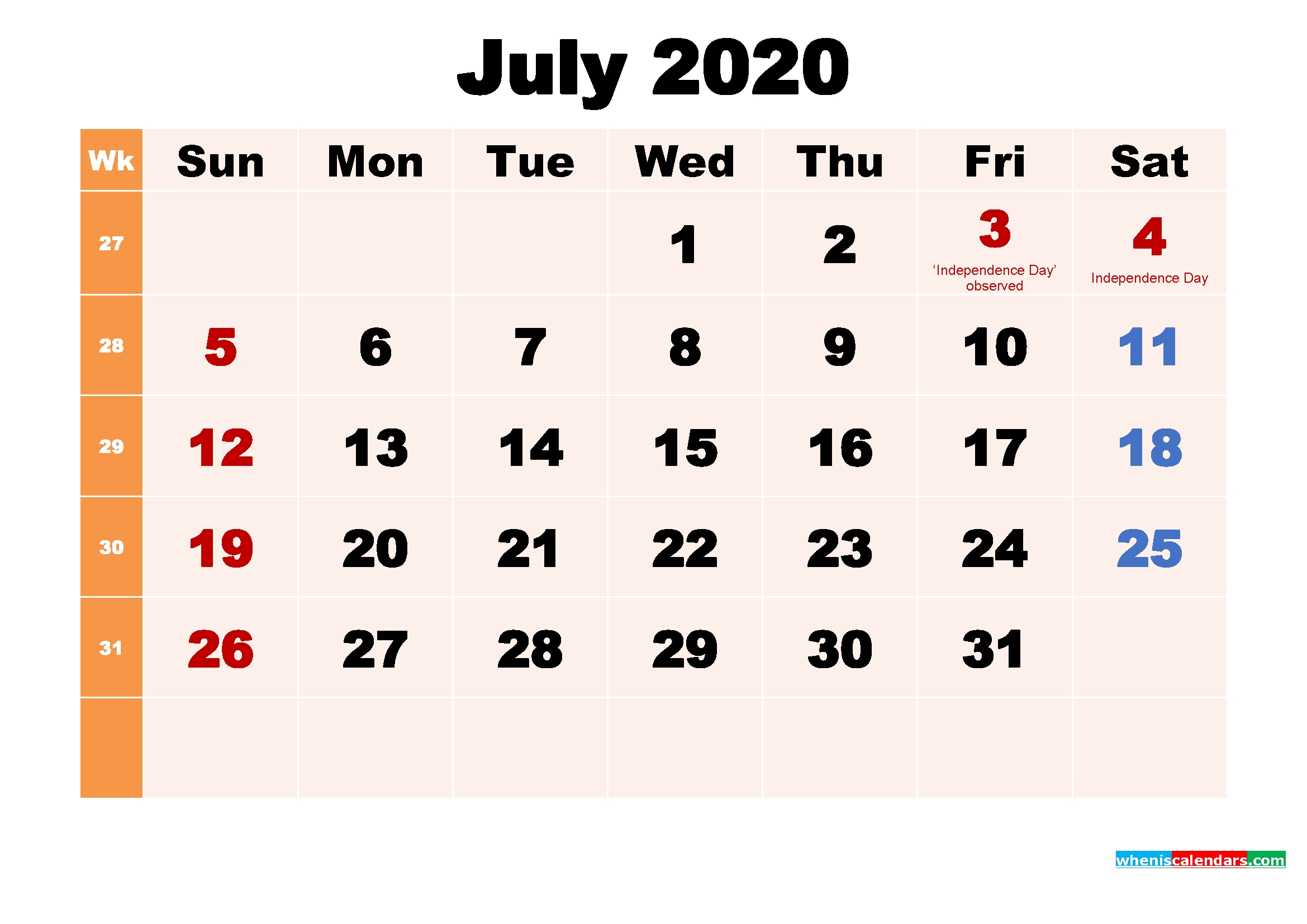 July 2020 Printable Calendar With Holidays Word, Pdf – Free