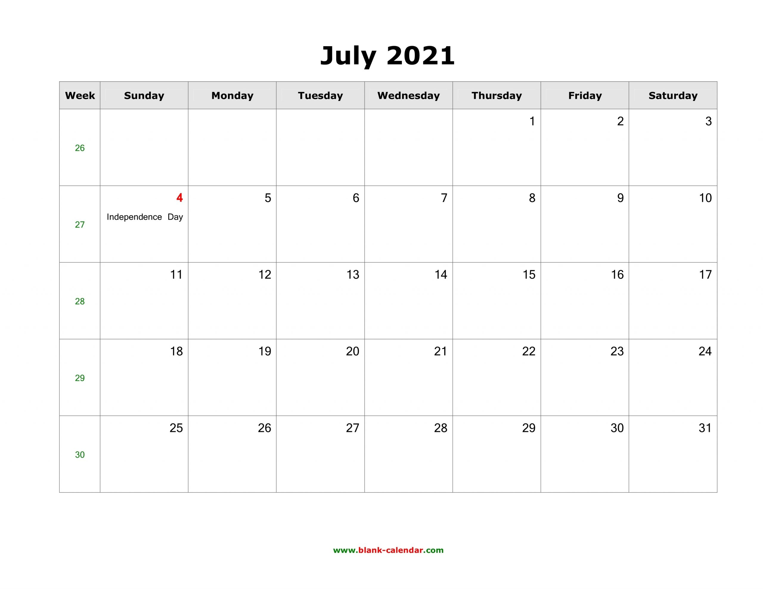 July 2021 Blank Calendar | Free Download Calendar Templates