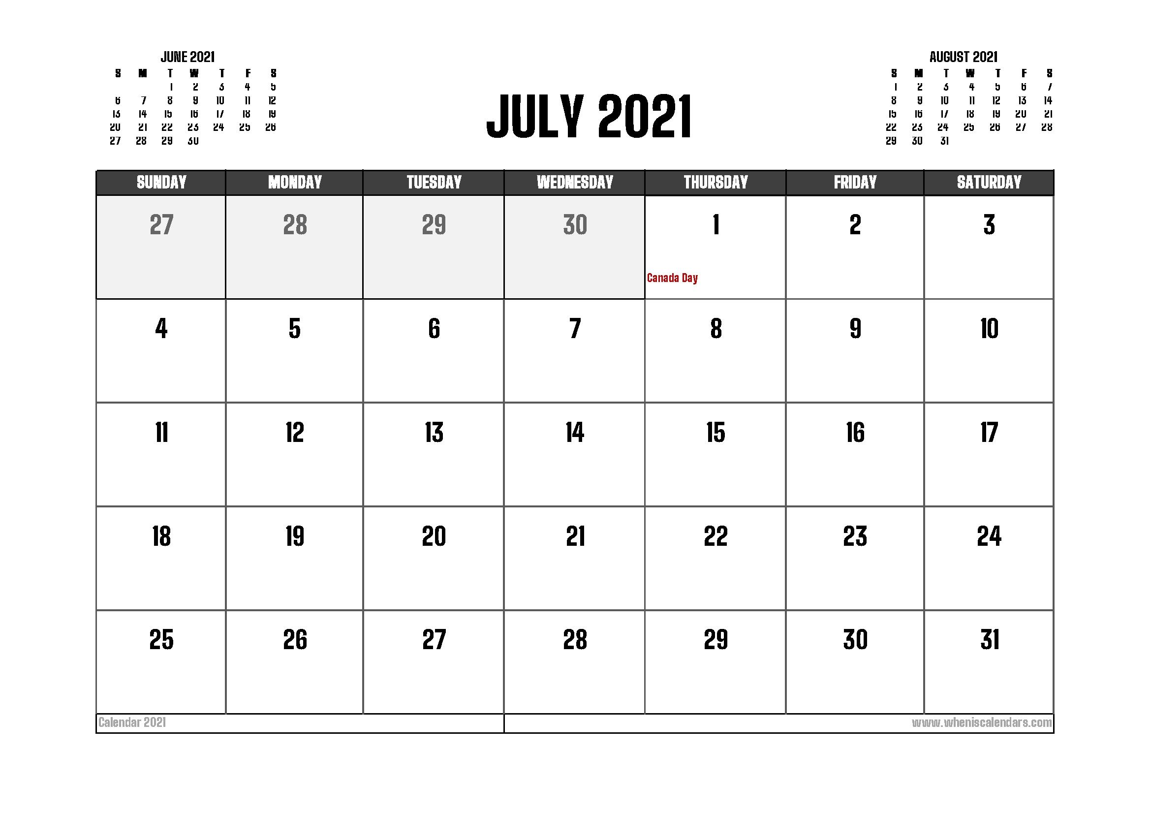 July 2021 Calendar Canada Printable 12 Templates – Free 2020