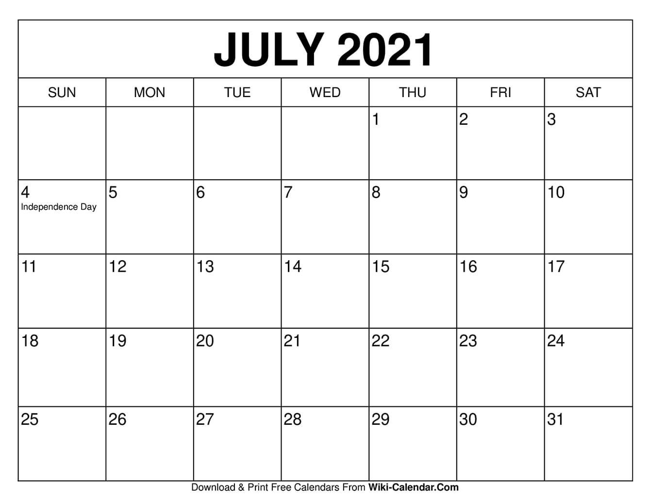 July 2021 Calendar In 2020 | Free Calendars To Print, Blank