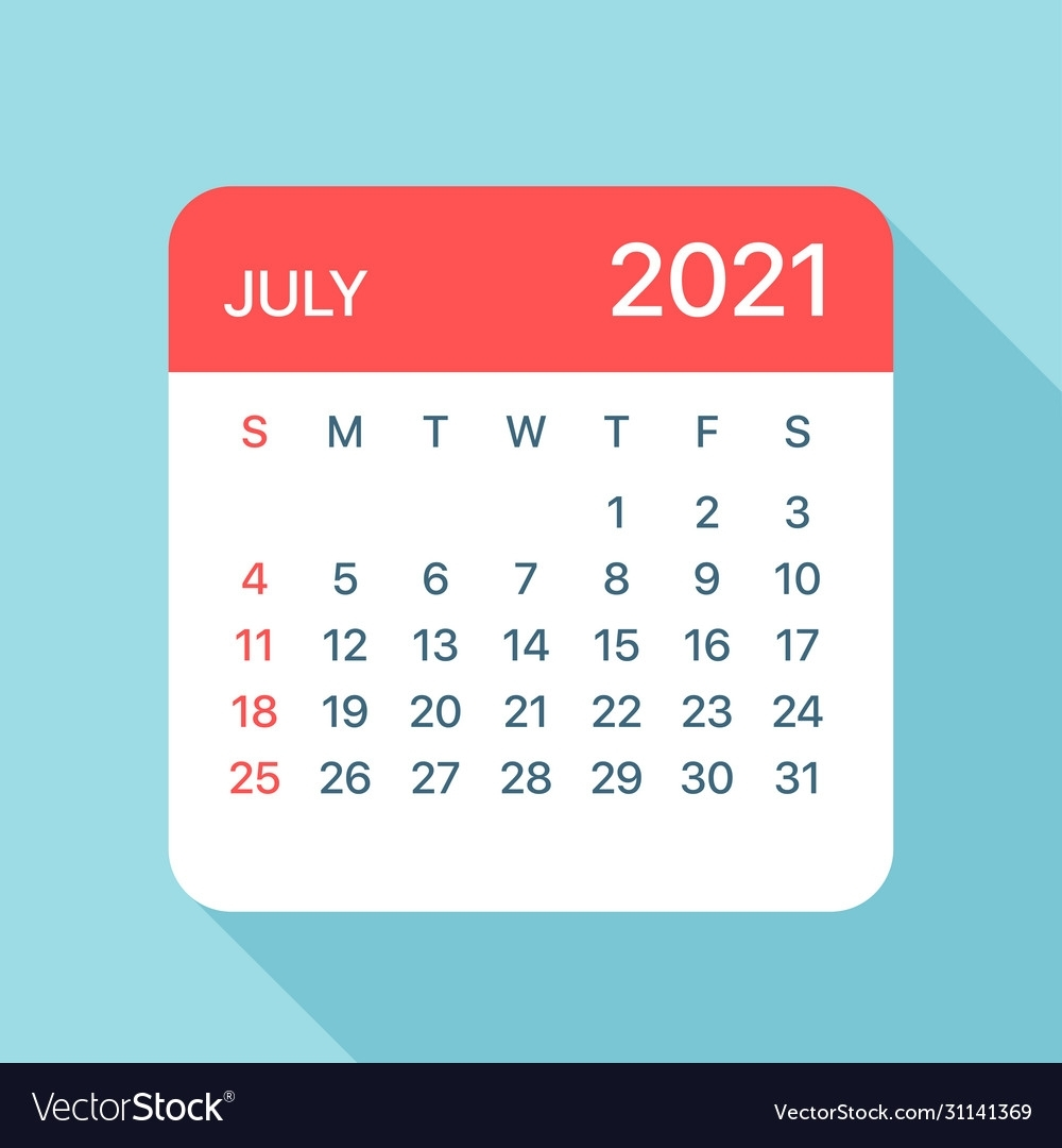 July 2021 Calendar Leaf Royalty Free Vector Image