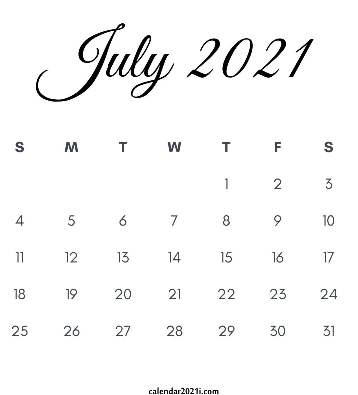 July 2021 Calendar Printable In 2020 | Monthly Calendar