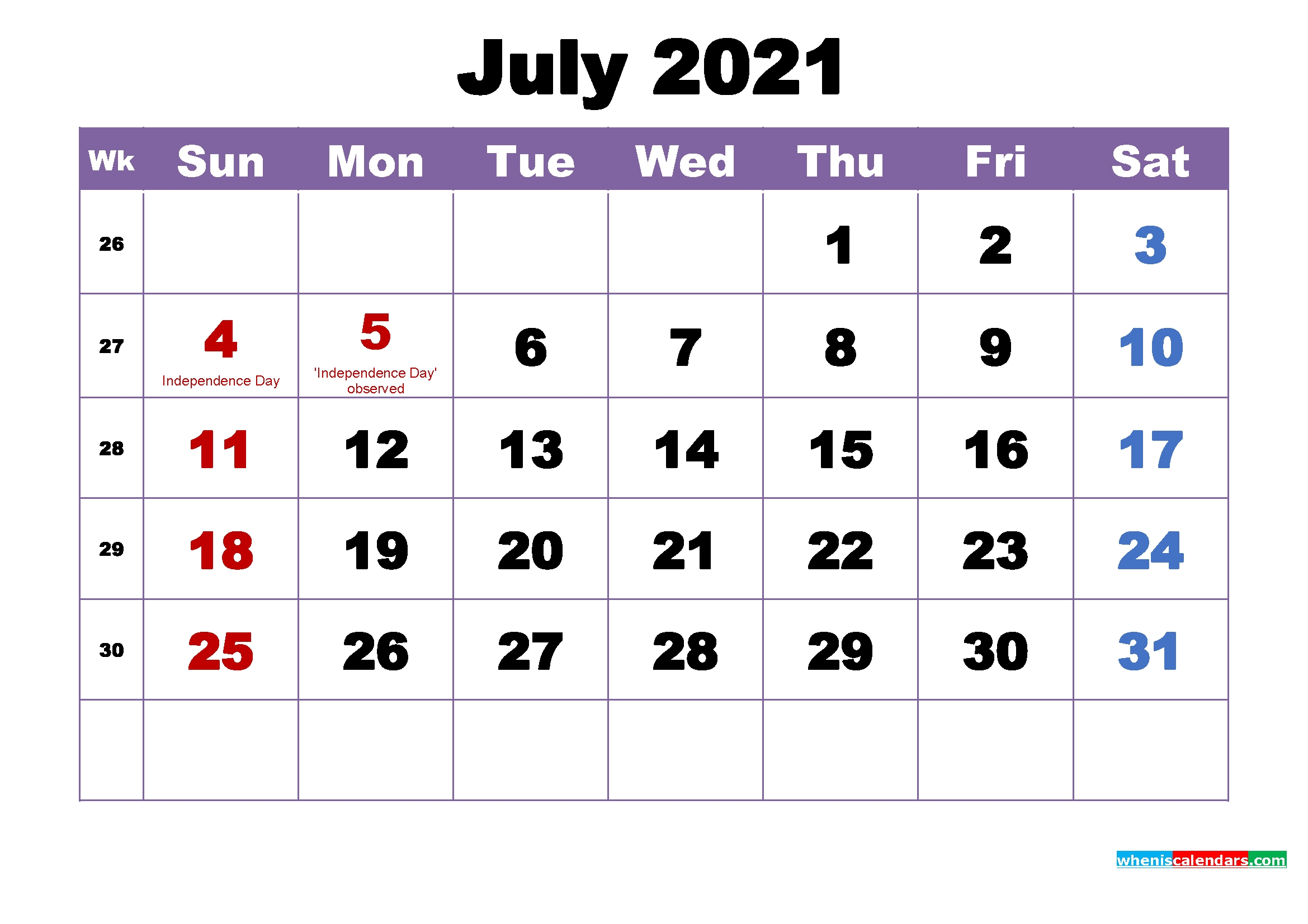 July 2021 Calendar With Holidays Printable – Free 2020 And