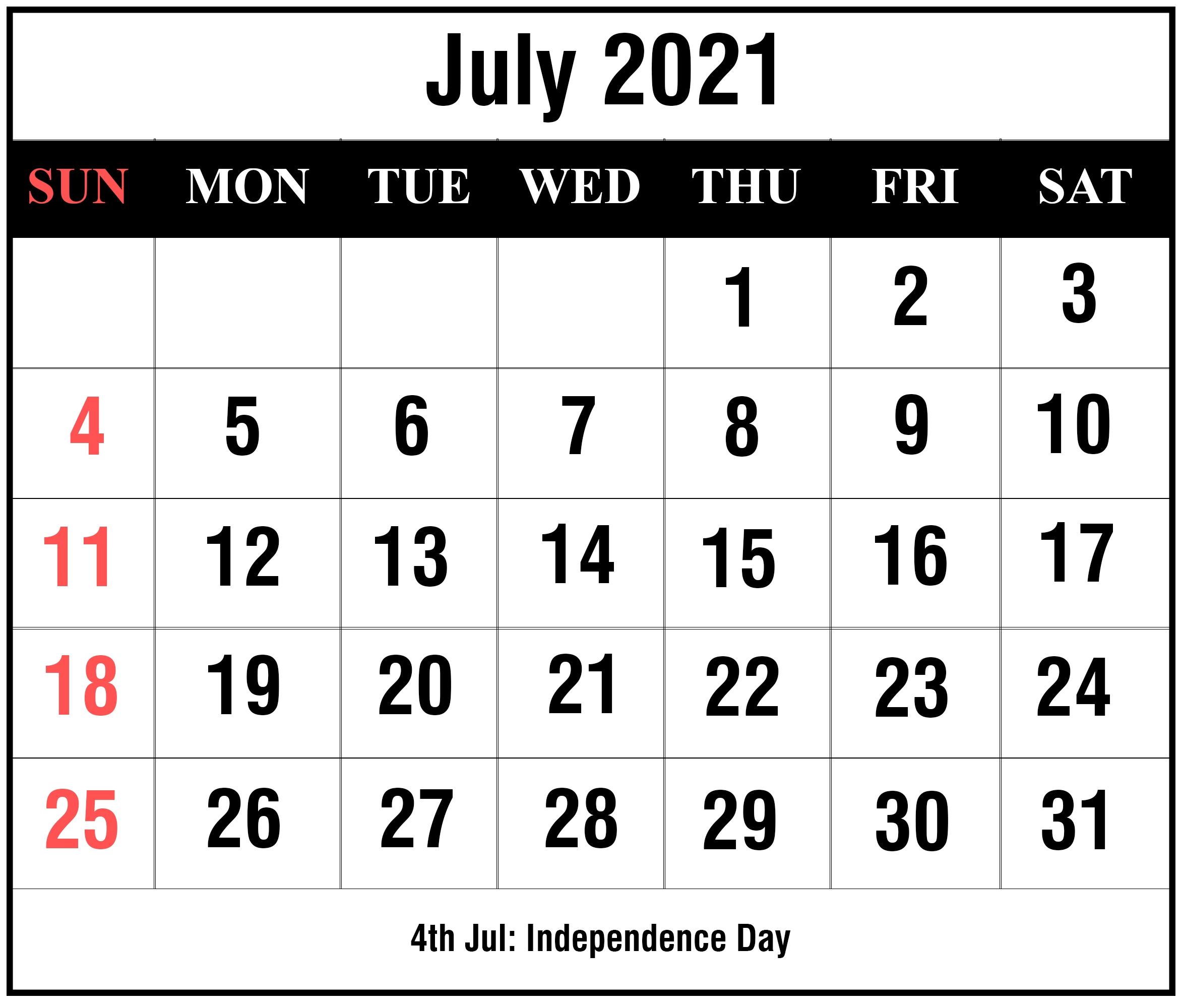 July 2021 Calendar With Holidays | Printable July Calendar