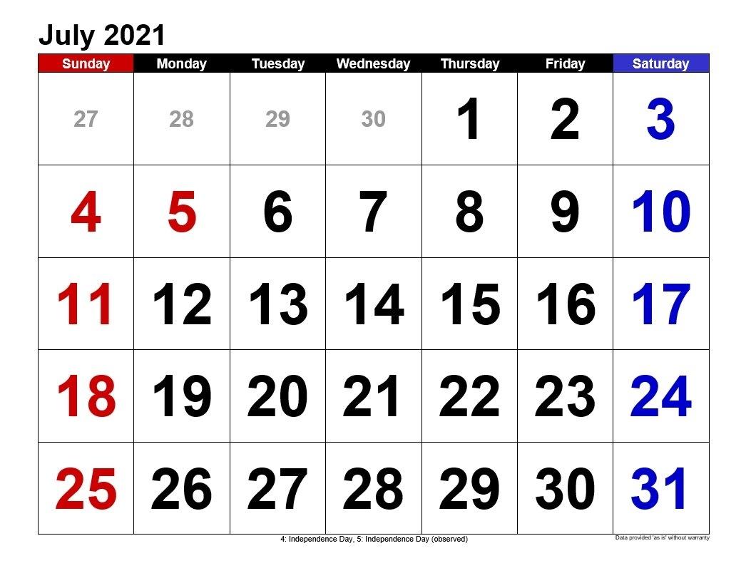July 2021 Calendars Landscape Format | 2021Printablecalendar