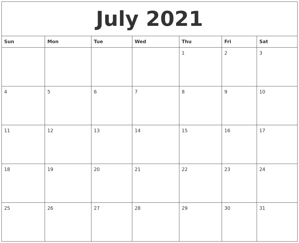 July 2021 Cute Printable Calendar