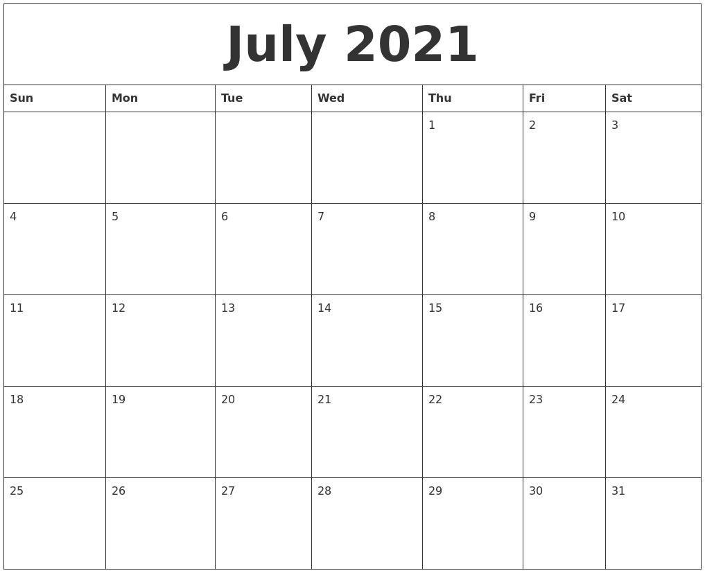 July 2021 Cute Printable Calendar