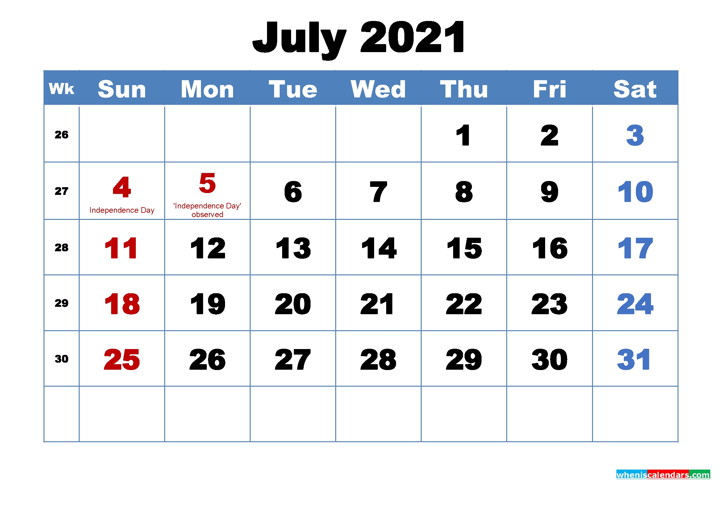 July 2021 Desktop Calendar Free Download – Free Printable