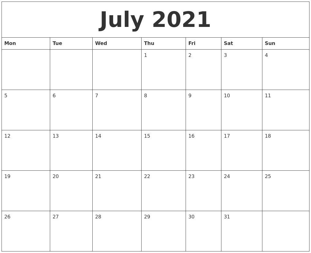 July 2021 Large Printable Calendar