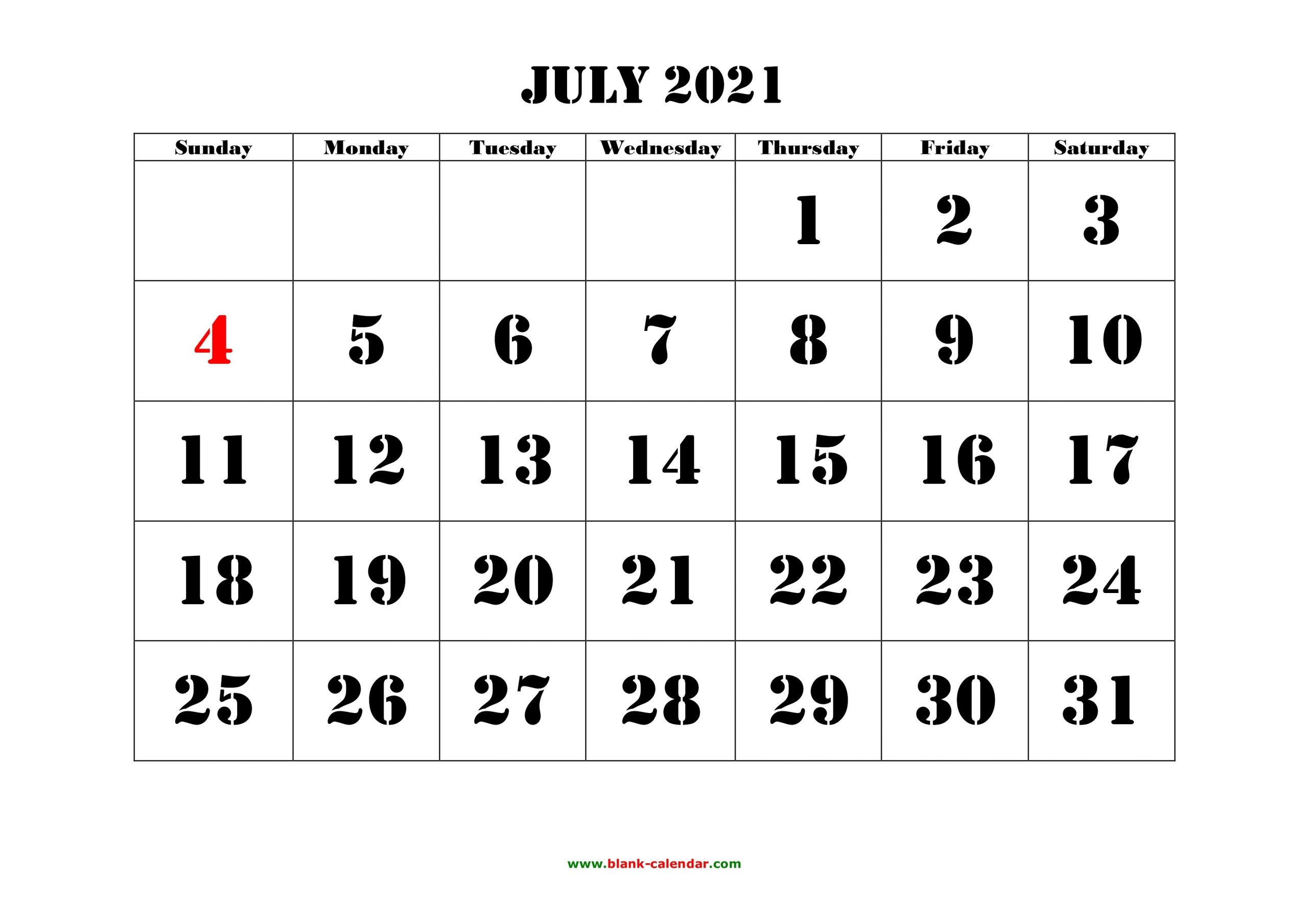 July 2021 Printable Calendar | Free Download Monthly
