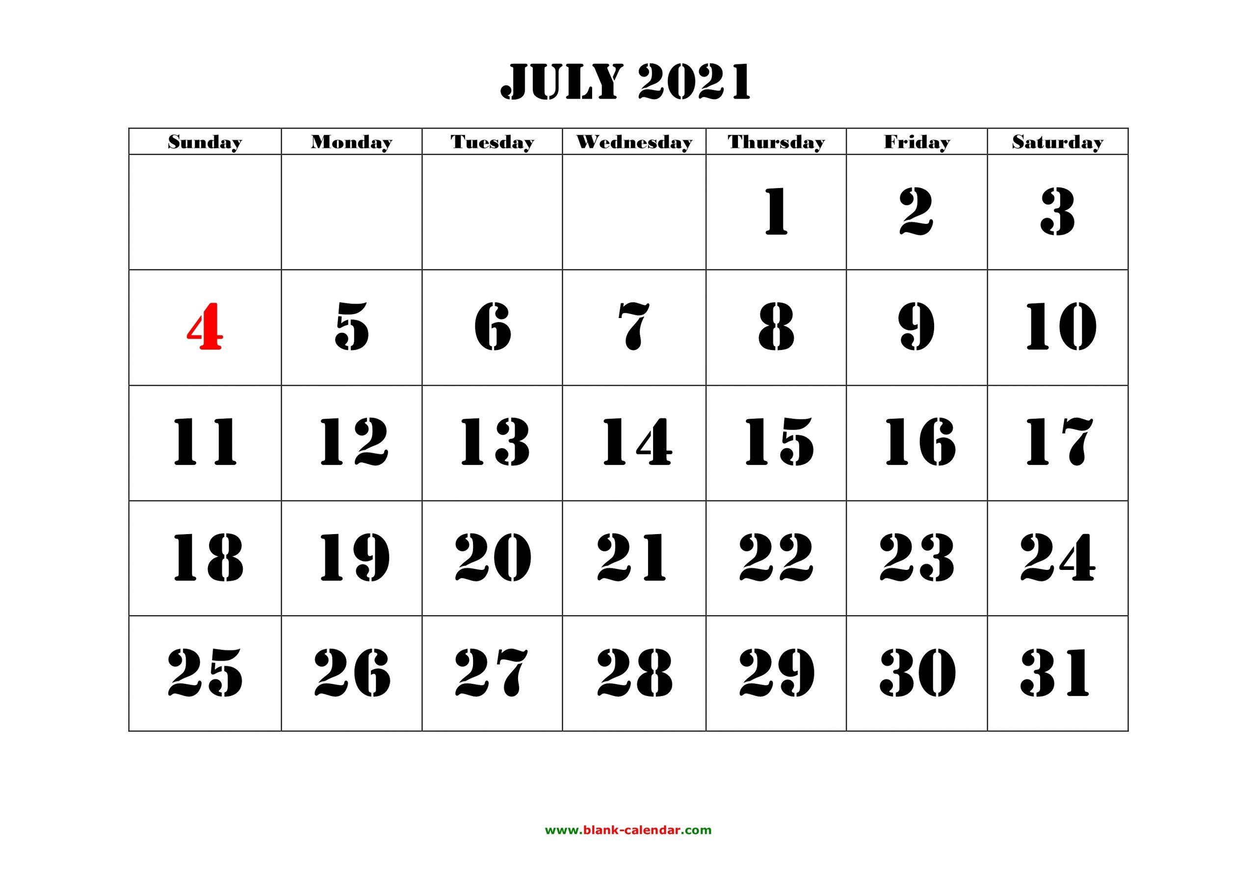 July Calendar 2021 Printable Big Numbers