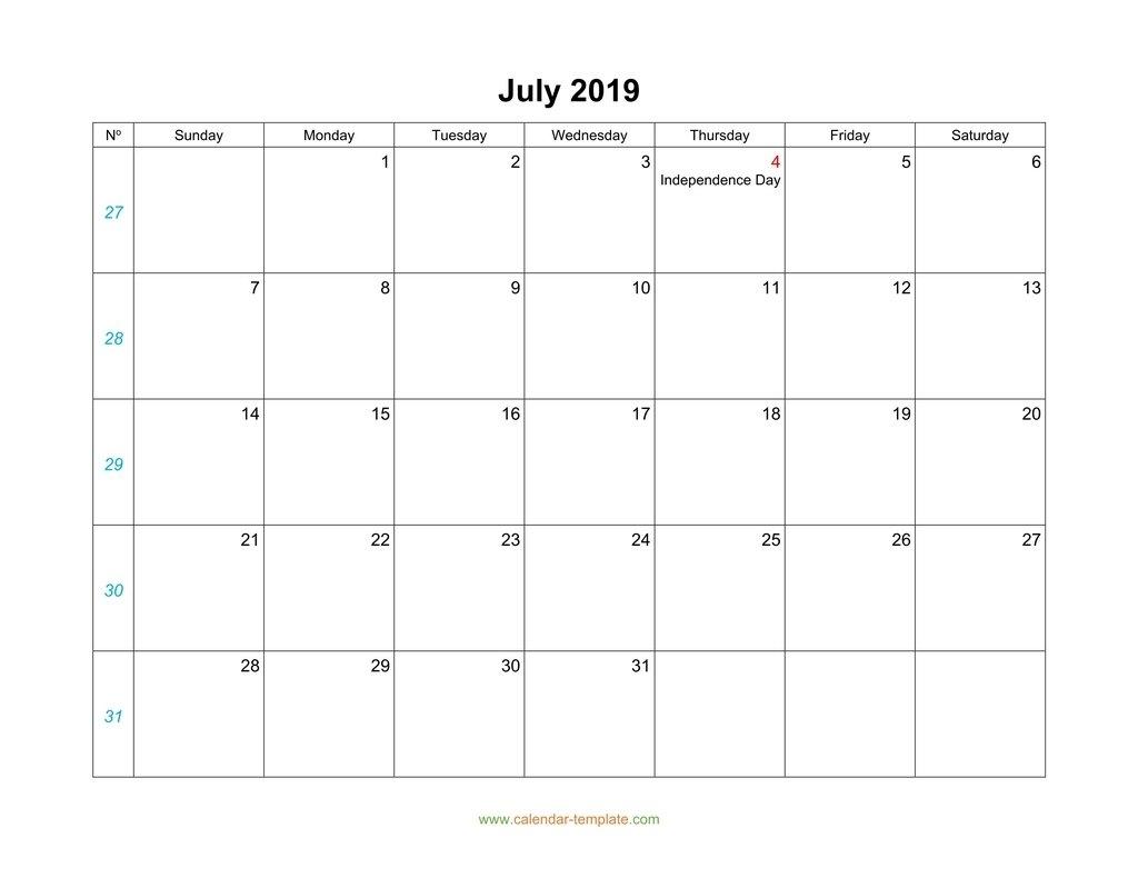 July Calendar 2019 Blank Template
