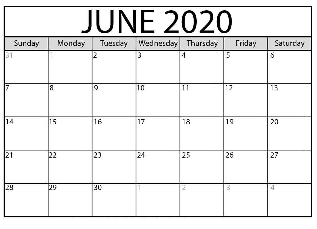 June 2020 Calendar Free Printable - Calendar Word