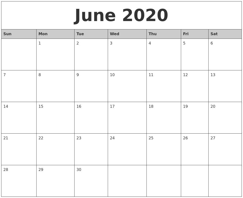 June 2020 Monthly Calendar Printable