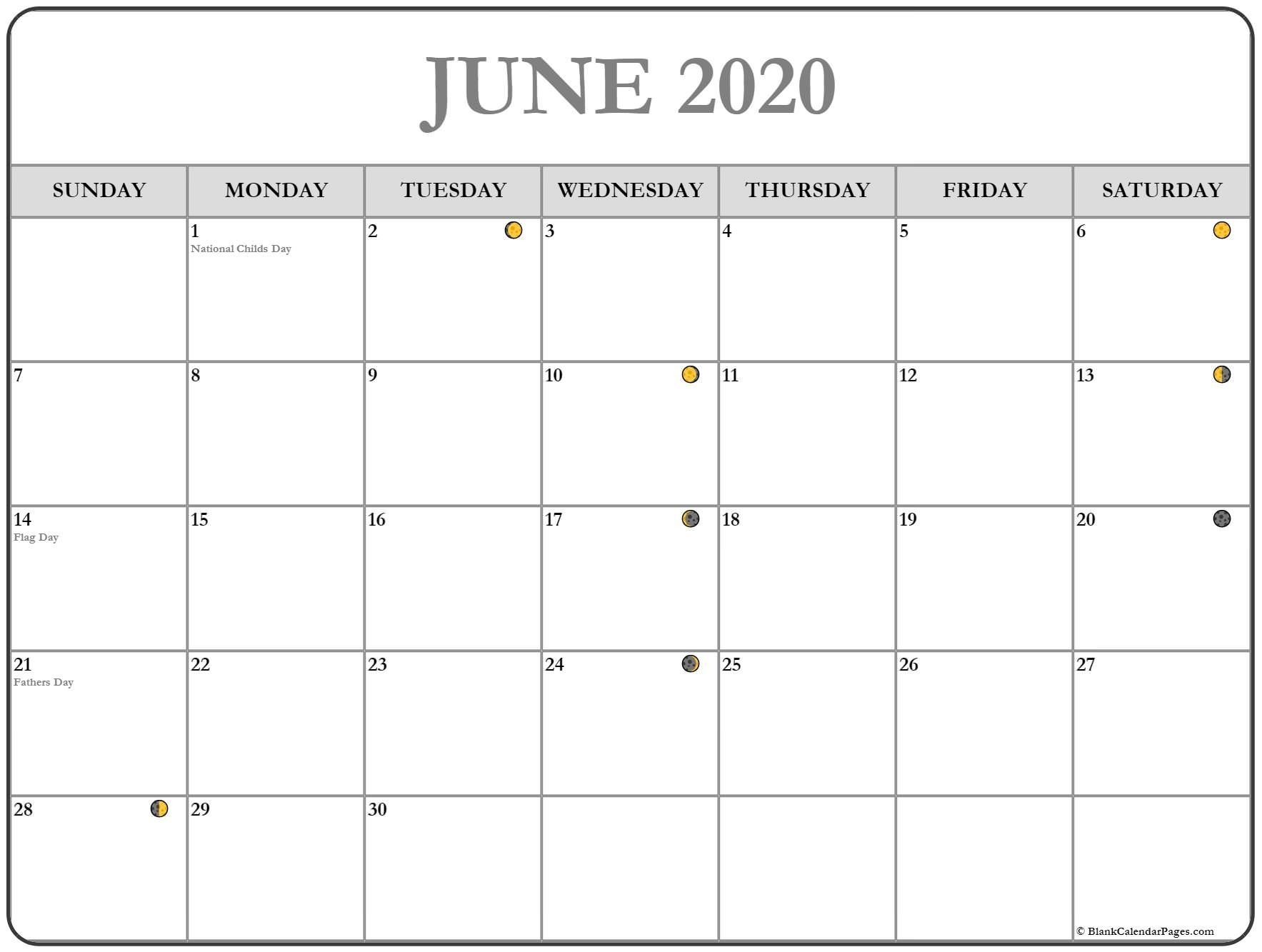 June 2020 Moon Phases Calendar | Moon Phase Calendar, Moon