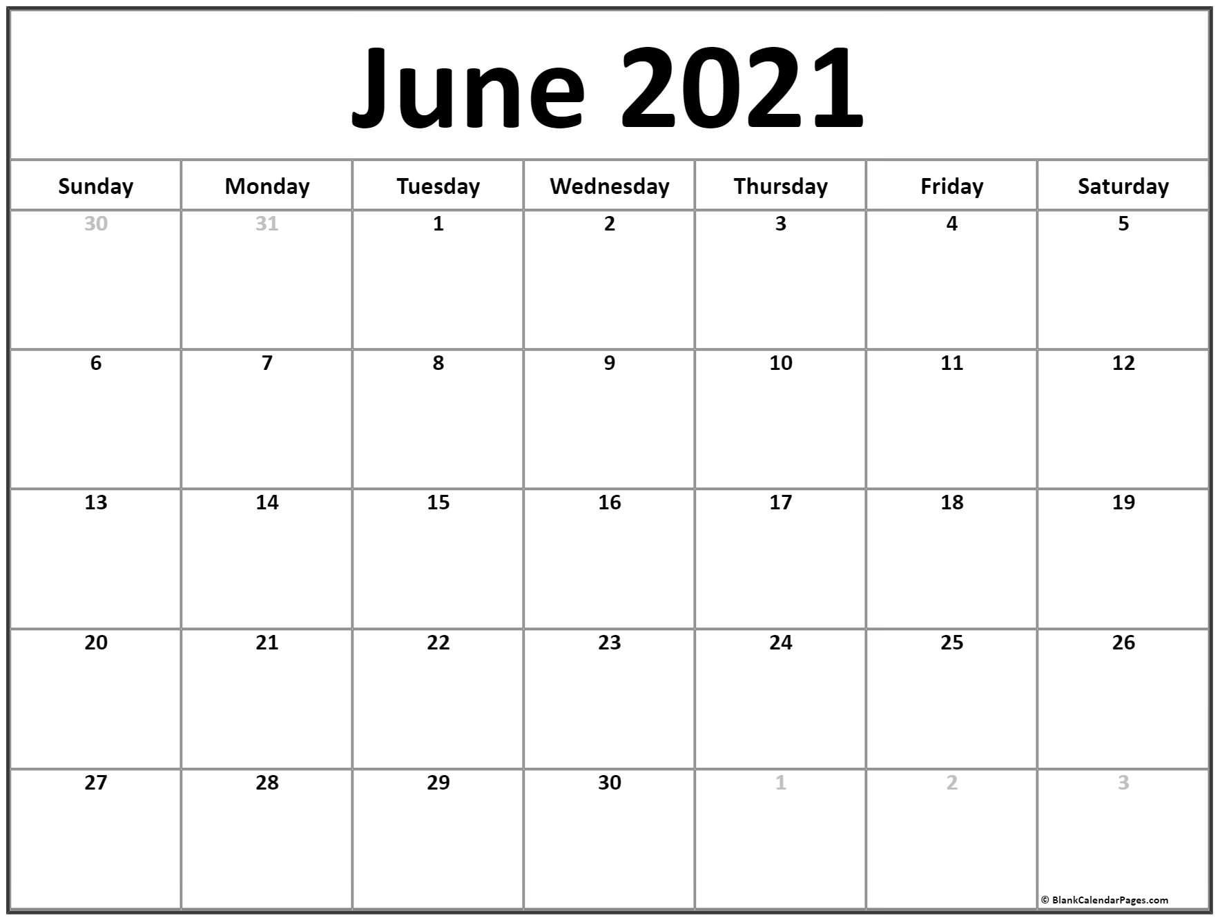 June 2021 Calendar | Free Printable Monthly Calendars