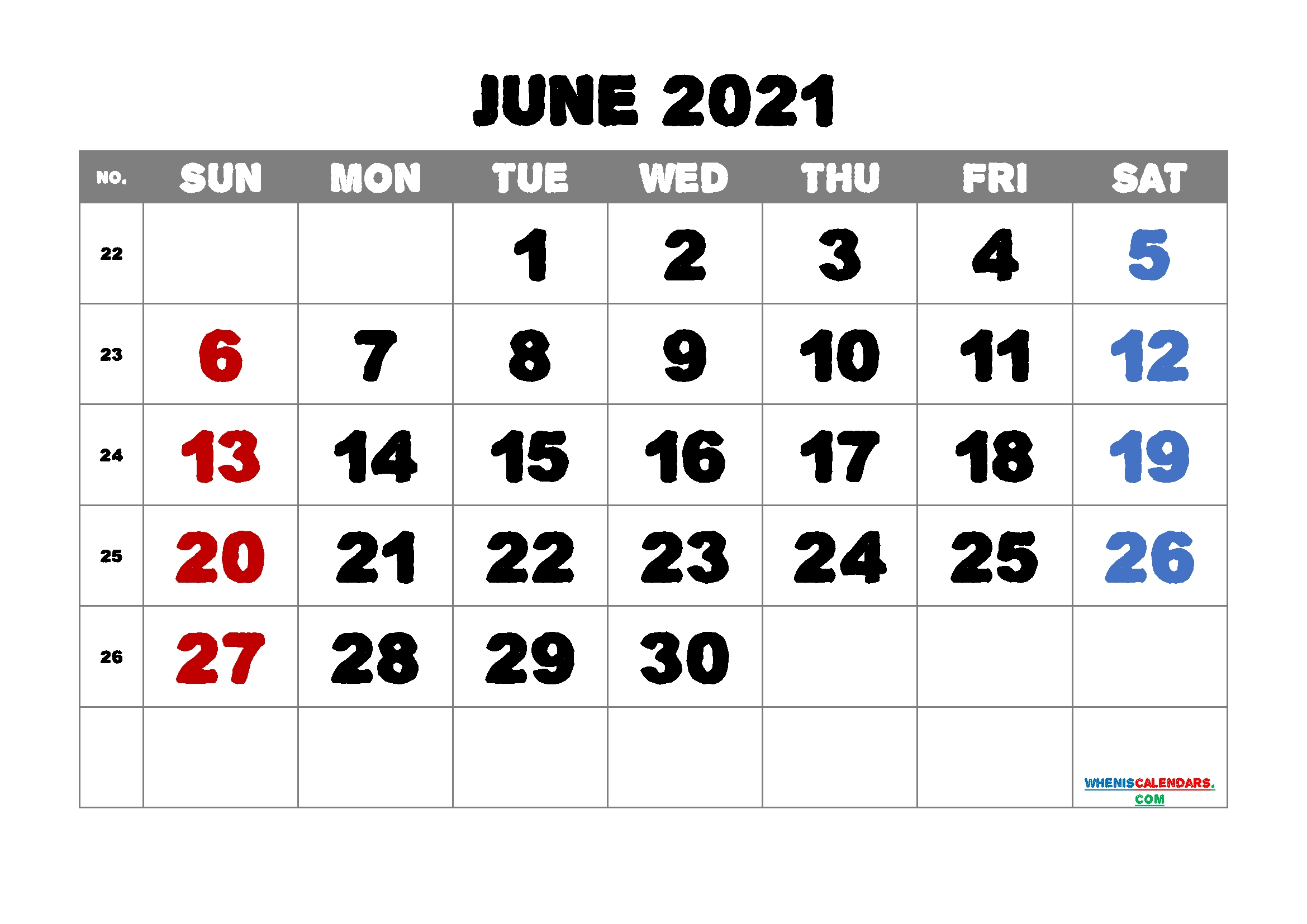 June 2021 Calendar Printable Free   Template M21Alphaecho1