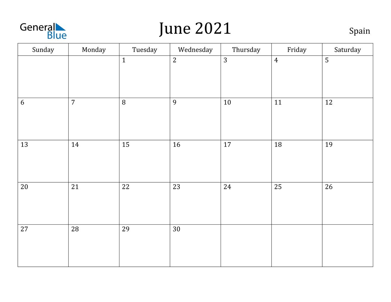 June 2021 Calendar - Spain