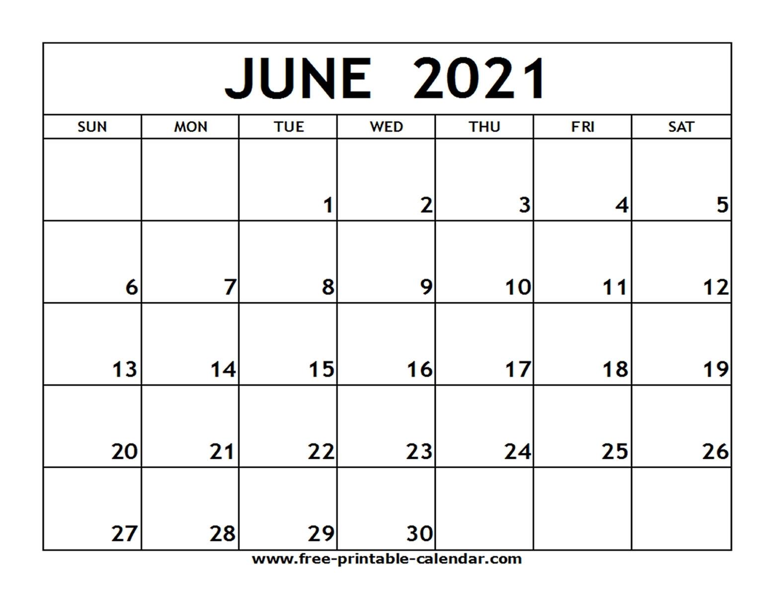 June 2021 Printable Calendar - Free-Printable-Calendar