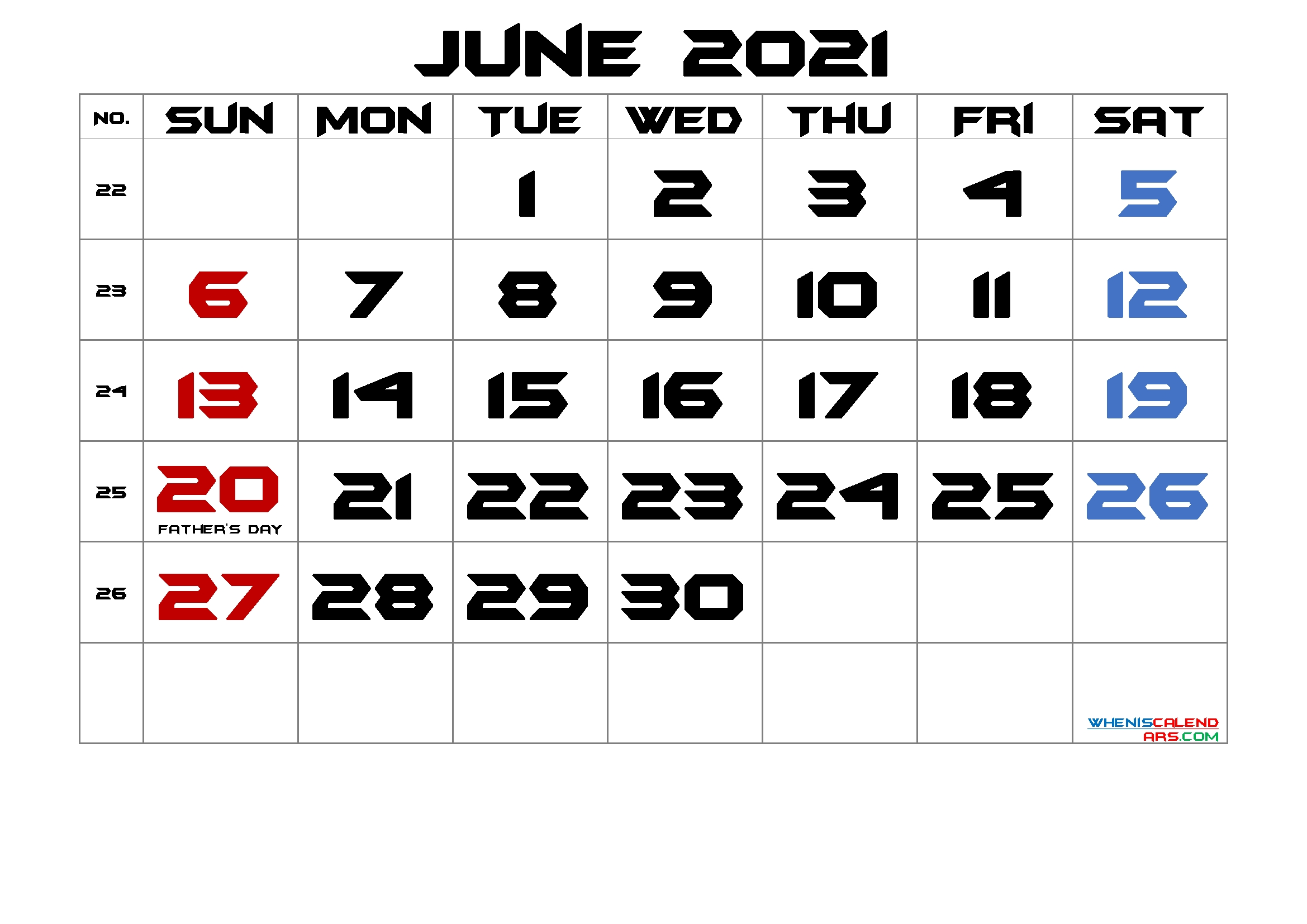 June 2021 Printable Calendar With Holidays – Free 2020 And