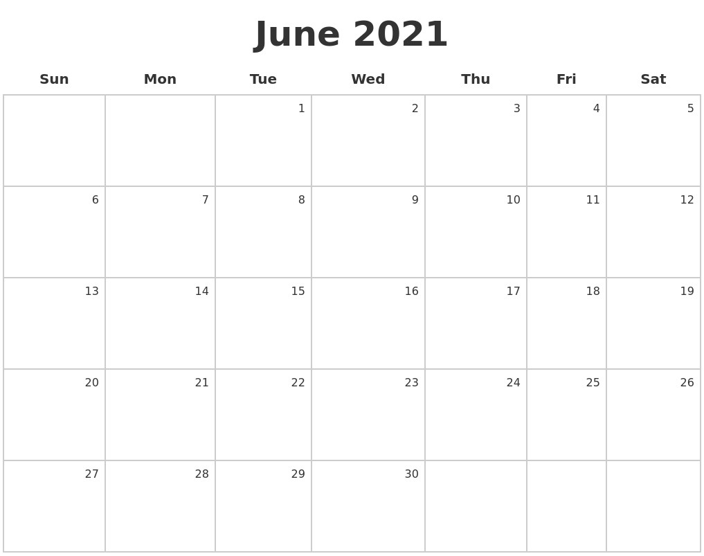 June Calendar 2021 | Calendar 2019 Printable, Monthly