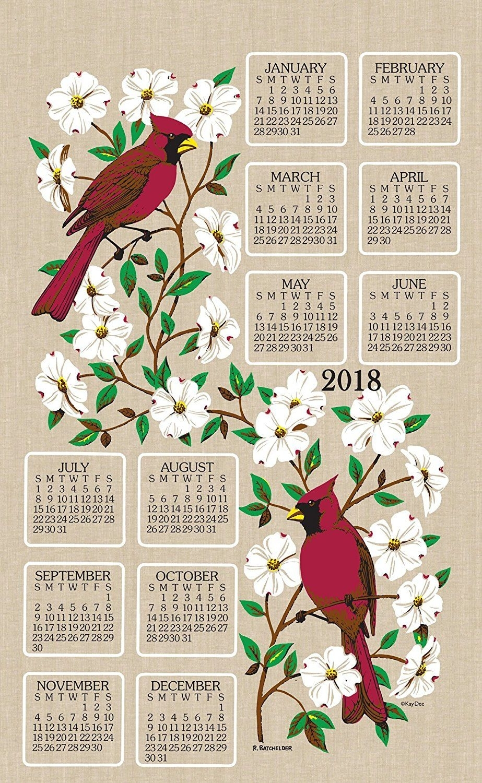 Kaydee Designs 2018 Linen Calendar Kitchen Towel (Dogwood