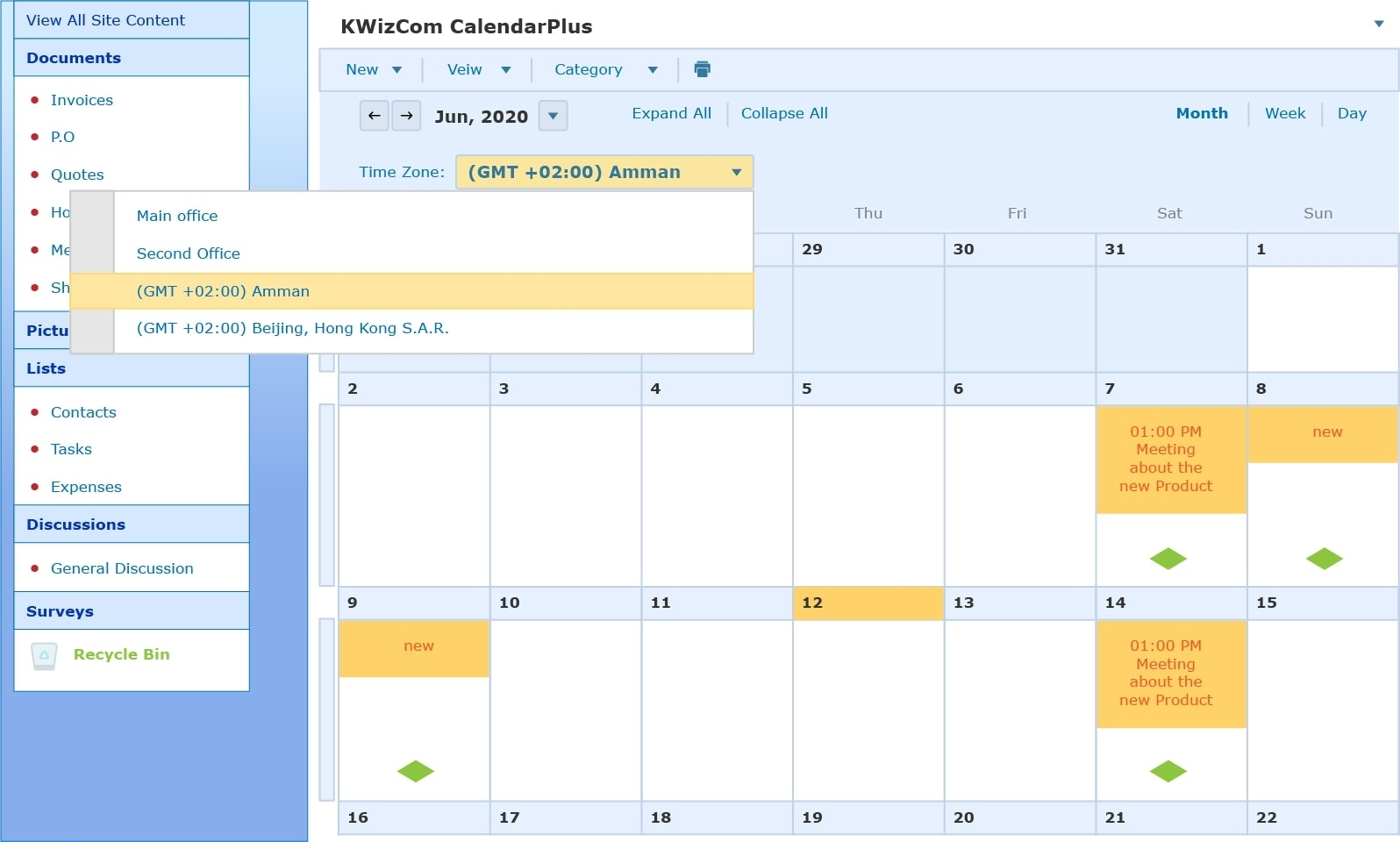 Kwizcom Sharepoint Calendar Plus Web Part