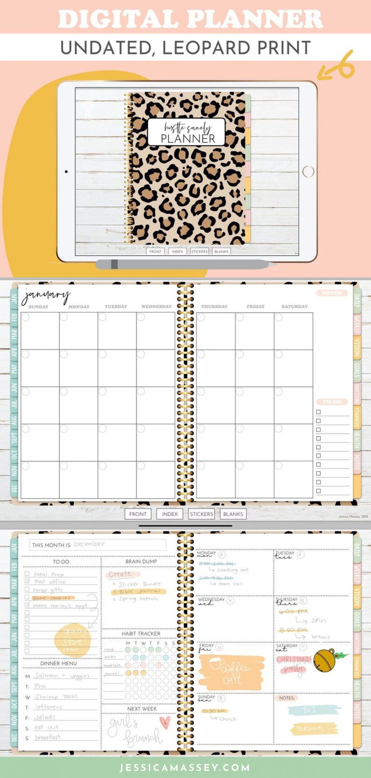 Leopard Print Undated Digital Planner | Hustle Sanely