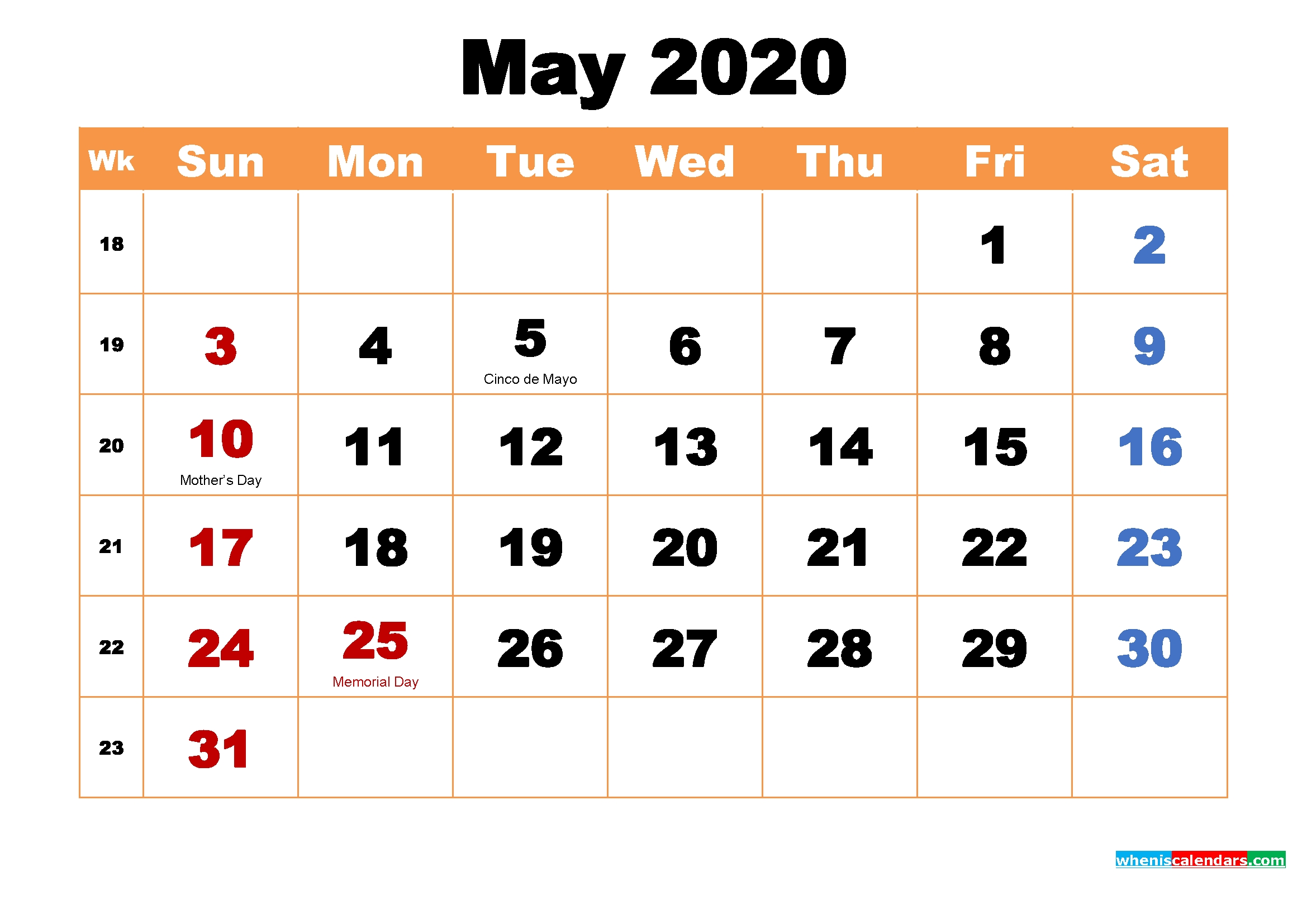 Make 2020 Your Best With Printable Monthly Calendar |