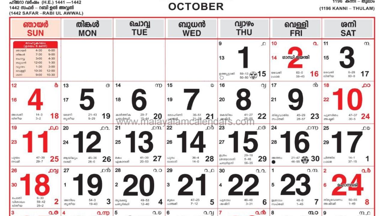 Malayalam Calendar October 2020 – Malayalamcalendars