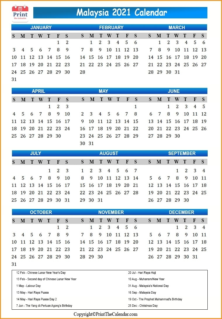Malaysia Holidays 2021 [2021 Calendar With Malaysia Holidays]