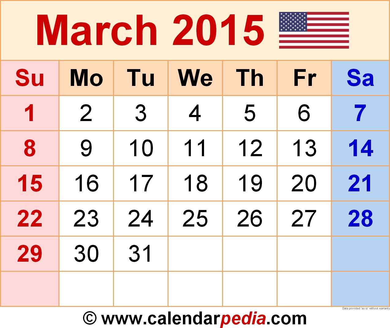 March 2015 Calendar - Free Templates For Word, Excel & Pdf