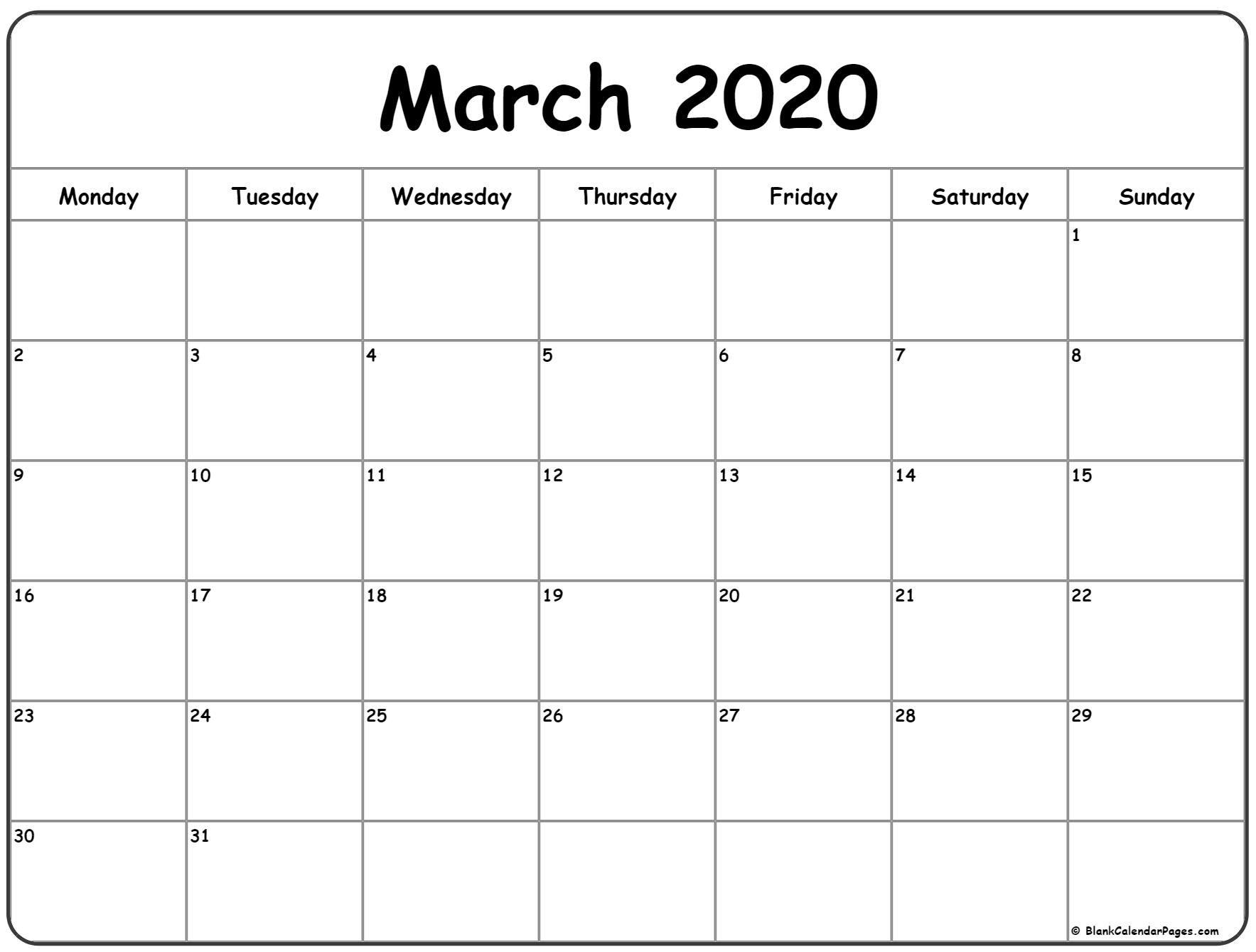 March 2020 Monday Calendar | Monday To Sunday | Calendar
