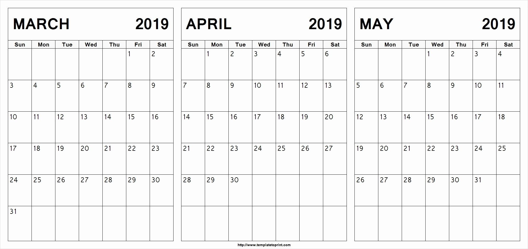 March April May 2019 Calendar Printable #March #April #May
